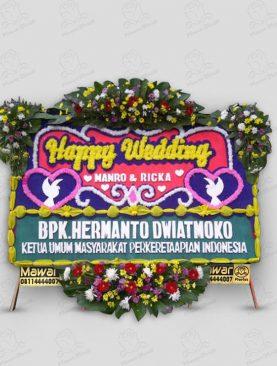 Karangan Bunga Pernikahan - Biru Kuning